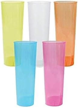 Agua Color trasl/úcido Satinado Duro e irrompible cubatas TELEVASO Cerveza PP Vaso Cocktail 400 ml Reutilizable Extra Fuerte Polipropileno 56 Unidades Vaso ecol/ógico Libre de BPA