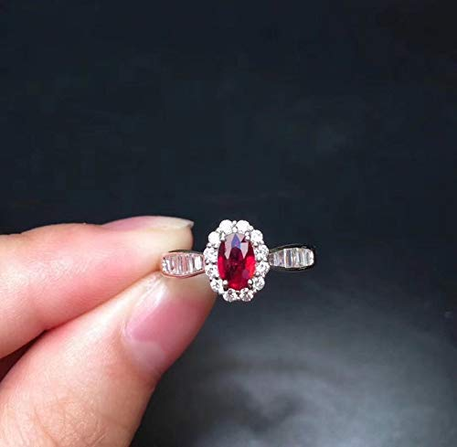 925 Sterling Silver Ring Natural Red Ruby Gemstone Ring Gift For Her July Birthstone Ring Floral Facete Ruby Ring Gemstone Silver Ring