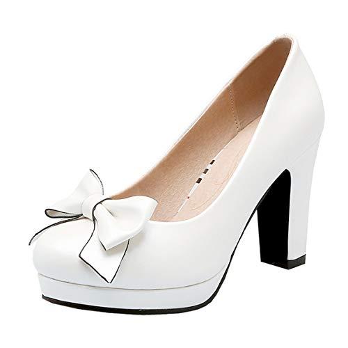 LUXMAX Decolte Donna con Tacco Alto Plateau Scarpe Tacco Largo Blocco Slip-on Fiocco Rockabilly Shoes (Bianco) - 37 EU