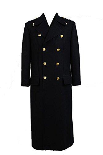 Torchwood Doctor Captain Jack Harkness Wool Trench Coat Dunkelblau Cosplay Kostüm Version Herren L