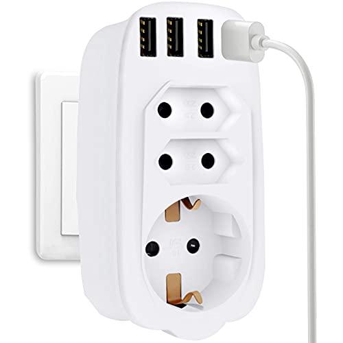 UniHom Adaptador de enchufe múltiple USB 7 en 1, adaptador de enchufe de 3 enchufes con 4 puertos USB, enchufes con conector USB, 2 enchufes europeos + 1 enchufe Schuko con protección para niños