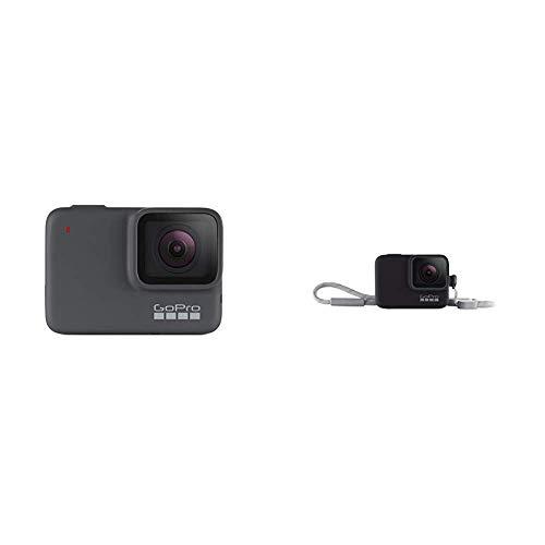 GoPro HERO7 Silver - Cámara de acción (sumergible hasta 10 m, pantalla táctil, vídeo 4K HD, fotos de 10 MP) color gris + Funda para cámara GoPro (incluye cordón) negro