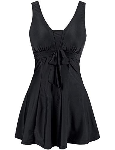 Wantdo Women's Flattering Swimwear One-Piece Tankini Swimsuit Black 26-28