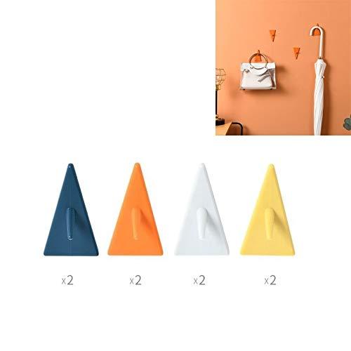 Gancho adhesivo para puerta de cocina, baño, 8 unidades, diseño de triángulo invisible, color mixto, para decoración creativa del hogar, PingGongHuaKeJiYouXianGongSi (color: triángulo arriba)