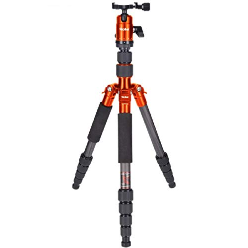 Rollei Compact Traveler No. 1 Carbon - Ultra-Lightweight Travel Tripod (2,16 lb incl. Ball Head) - Folded Length: 12,99' - Arca Swiss Compatible - Monopod Function - Carbon - Orange