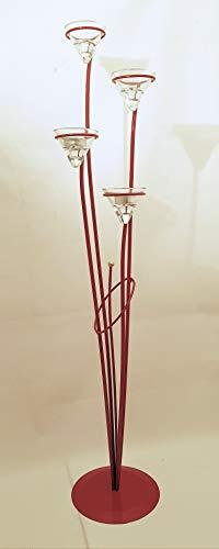 Portavelas de candelabro de pie de metal–para cuatro velas en rojo–90cm de alto