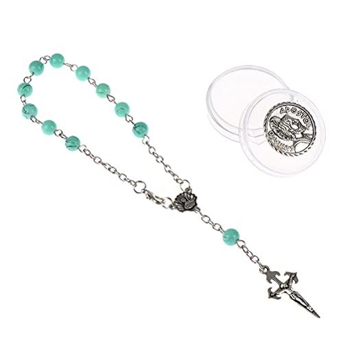 TIANTIAN Rosary Cross Bead Charm Link Chain Bracelet for Women Teen Girls Mini Catholic Rosary Bracelets Prayer Beads Baptism Christening Favors
