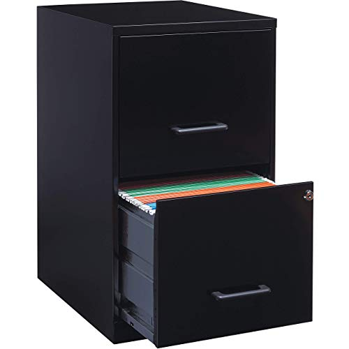 Lorell 14341 18 Deep 2-Drawer File Cabinet, Black