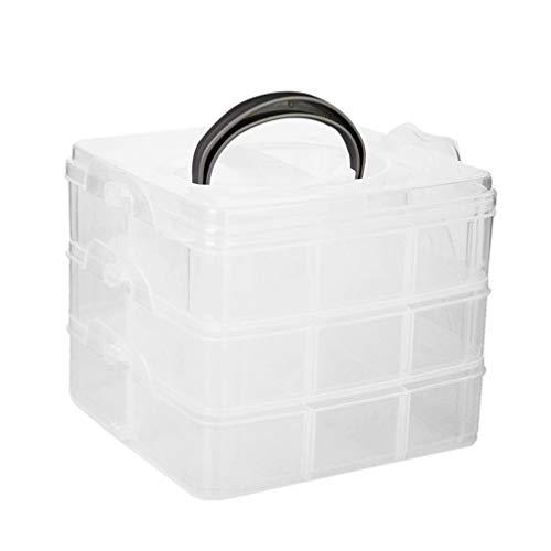Lurrose Boîte de Rangement de Conteneur à 3 Couches Organisateur en Plastique avec 18 Compartiments Étui de Maquillage pour Artisanat de Perles de Bijoux