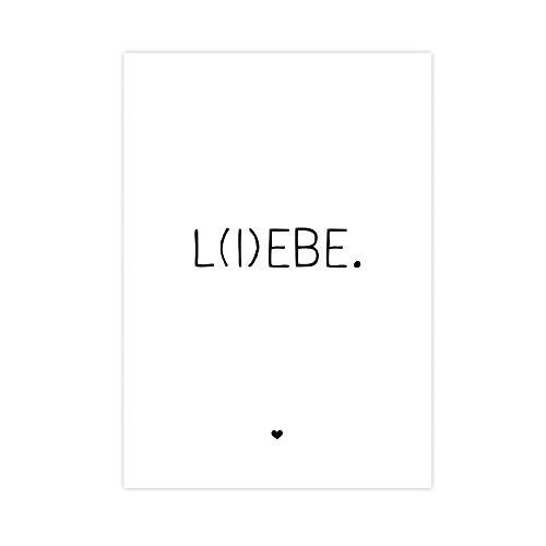 Wunderpixel® Kunstdruck L(I) EBE - auf wunderbarem Hahnemühle Papier DIN A4 | ohne Rahmen- schwarz-weißer FineArt-Print Poster zur Wand-Dekoration Büro/Wohnung/Geschenk-Idee Geburtstag - liebe lebe