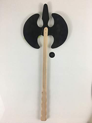 LuxTri Hacha de madera con mango de madera maciza, para disfraz de ladrones, guerrero, mata cometas, luchadores, enanos, depredadores, arma de madera para nios, carnaval, vikingos, vikingos