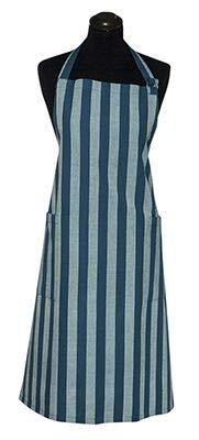 Scantex Schürze blau gestreift Baumwolle mit seitlichen Taschen, 90x90 cm (blau)
