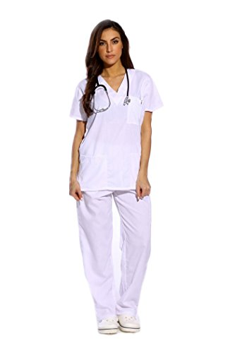Just Love uniforme médico con cuello en V para mujer, S, Marino