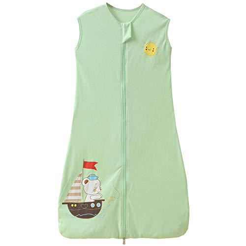 Saco de dormir de verano para bebé, niña, niño, verano, 0,5 tog, 3-6 años, diseño de velero, color verde