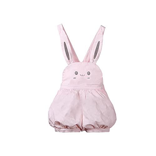 XJTJSM Pink Kawaii Lolita Muchachas de los Mamelucos, Pantalones Cortos de la Linterna Linda, Mono de Correa de la suspensin del Conejo (Color : Pink, Size : Medium)