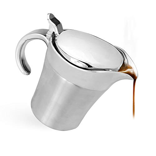Stainless Steel Gravy Boat - 500ml | Insulated Jug | Custard & Cream Server | Sauce Jug | Thermal Gravy Jugs | Milk Jug With Lid | M&W