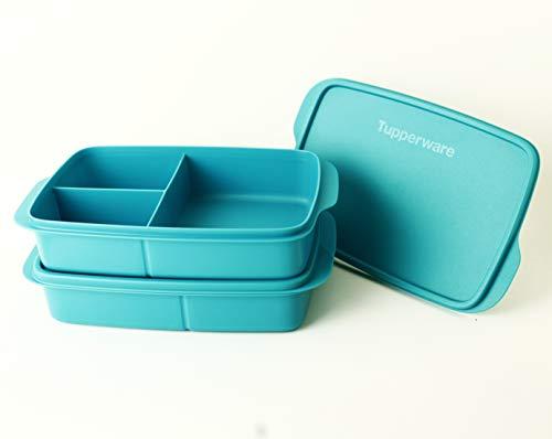 Clevere Pause TUPPERWARE to Go Lunchbox 2X 1L Türkis mit 3-Fach Einteilung + Minitrichter Lila