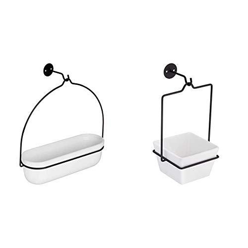 Amazon Basics Pflanztopf zum Aufhängen, oval, Weiß / Schwarz & Pflanztopf zum Aufhängen, quadratisch, Weiß / Schwarz