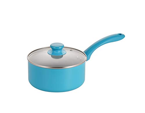 Mirazur 7#039#039 Ceramic Nonstick Saucepan with Tempered Glass Lid Small Pot with Lid 2QT Dishwasher Safe Blue