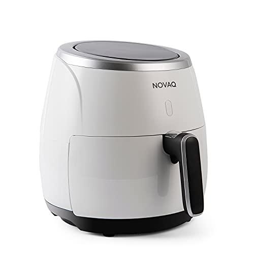 Novaq NV-25A - Freidora de aire caliente digital XXL, cesta de 5 L, 4-6 personas, 2000 W, 80-200 °C, temporizador de 60 minutos (blanco)