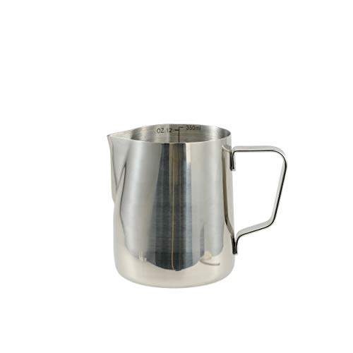 Milk Frothing Pitcher12 OZ Stainless Steel Espresso Milk Frothing Pitcher 12 oz Coffee Milk Frothing Cup Espresso Steaming Pitcher Coffee Steaming Pitcher for Espresso Machines Latte Art