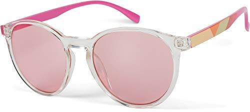 styleBREAKER Dameszonnebril met ovale glazen, kleurrijk montuur en gekarteld patroon op de slapen 09020116