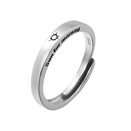 Aukmla Anillo de compromiso de plata con sol y luna, anillo abierto ajustable, anillo de boda para hombres y mujeres (plata sol-hombres)