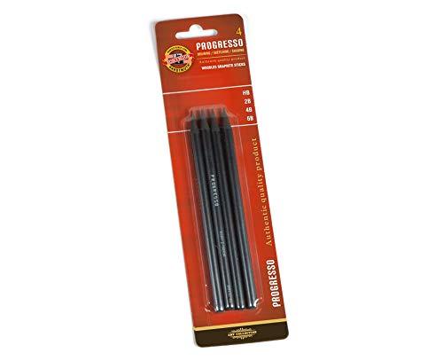 KOH-I-NOOR Progresso Graphit-Bleistifte, ohne Holz, 4Stück