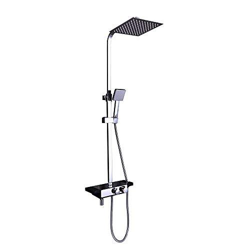 Sistema de ducha rectangular con panel de ducha, grifo de ducha, columna de ducha con estante, 3 funciones, alcachofa de ducha, barra de ducha ajustable de cromo