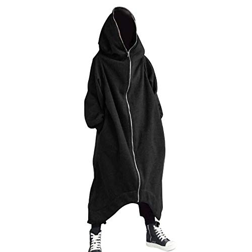 Syfinee 2020 Personalized Street Unisex Long Sleeve Hooded Nazgul Long Coat, Zipper Closure Fleece Lined Long Hoodie, Black And Gray