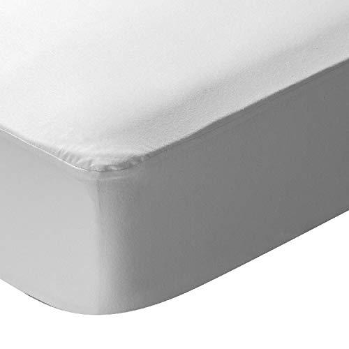 ikolin Home - Protector de colchón 100% algodón de Punto Impermeable, Tratamiento antialérgico eficaz contra ácaros, bacterias y Moho Cama de 150 - 150 x 190/200 cm