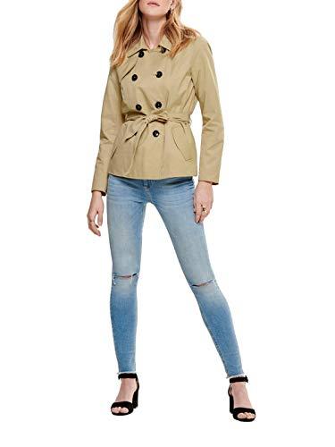 ONLY Damen Kurz-Mantel Jacke onlLAURA Short Trenchcoat, Farbe:Braun, Größe:L