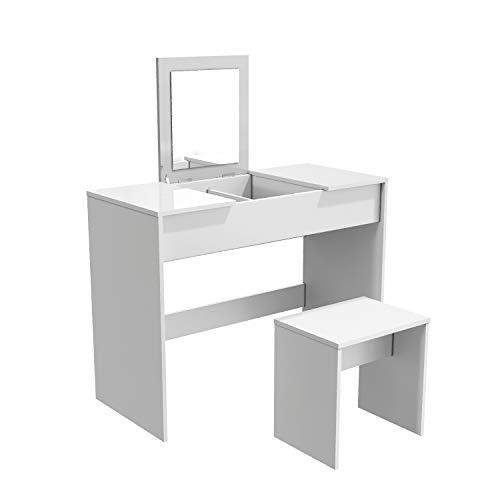 SONNI Schminktisch Kosmetiktisch mit Hocker und klappbar Spiegel Schminktisch weiß 2 in 1 Frisierkommode Schreibtisch Hochglanz Tischplatte