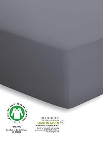 schlafgut Organic-Cotton-Jersey 50101 Spannbettlaken 90-100x190-200 Graphit