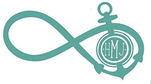 Custom Infinity Anchor Initial Monogram Vinyl Decal - Boating Bumper Sticker, for Tumblers, Laptops, Car Windows