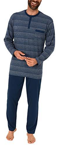 Herren Schlafanzug Pyjama lang Geringelt - auch in Übergrössen - 291 101 90 773, Farbe:Marine, Größe2:60