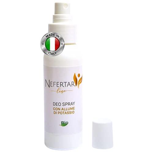 Nefertari Line Deodorante Uomo e Donna con Allume di Potassio BIO - Deodorante Spray Antiodore e Antisudore, Zero Macchie e Zero Alcol - Made in Italy, 75 ml