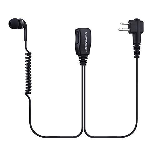 COMMIXC (2 Pack) Walkie Talkie Earpiece, 2.5mm/3.5mm 2-Pin in-Ear Walkie Talkie Headset with PTT Mic, Compatible with Motorola Two-Way Radios