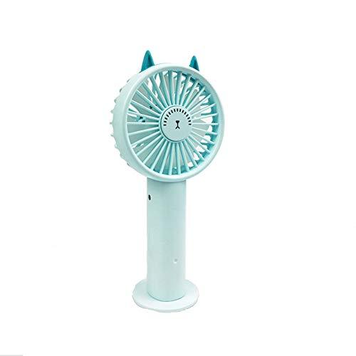 WRYCN Mini-ventilator, draagbaar, USB-accu, met sokkel voor slaapkamer, kantoor, thuis en op reis.