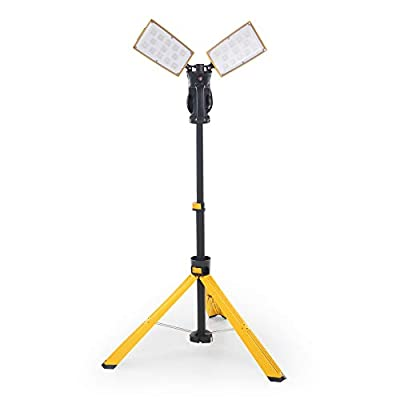 Lutec Dual-Head LED Work Light with Telescoping Tripod, Rotating Waterproof Lamps and Power Cord