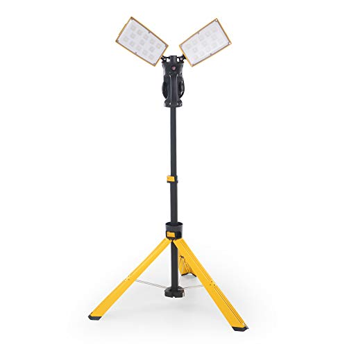 【Upgraded】LUTEC 6290Pro 9000 Lumen 90 Watt Dual-Head LED Work Light with Telescoping Tripod, Work Light with Stand Rotating Waterproof Lamps and 8 Ft 3-Prong Power Cord