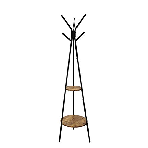 Kleding opslag-C-Bin1 Metal Kleding Hook, Coat Industrial Wind Heavy Stand Café Bar Kapstok Double Layer Make Oude multifunctionele Flower Stand hoed schappen (Size : 179 * 49CM)