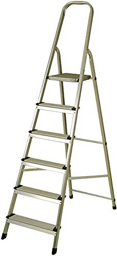 Escalera de Aluminio Plegable multifunción Antideslizante, Ligera y Resistente (6 Peldaños)