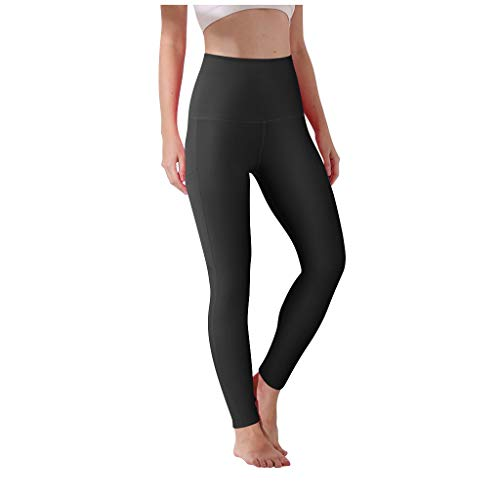 Best Review Of HHoo88 Women's Hip High Waist Solid Color Pocket Exercise Running Yoga Pants Tight Tr...