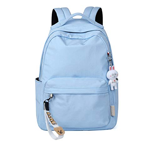 Junior High School Student Bag Mochila de ocio escolar Moda Simple versión coreana Bolso de hombro doble Bolsa de Estudiante (Color : Blue)