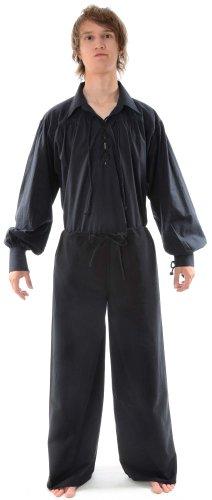 HEMAD Pantalons médiévaux - Coton Pur – XL Noir