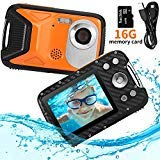 Pellor Waterproof Digital Camera 2.8' FHD 1080P 8.0MP CMOS Sensor 21MP Video Recorder Selfie DV Recording Underwater Camera Camerater for Snorkeling with 16G SD Card