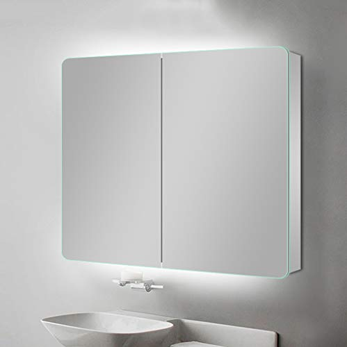 80CM/100CM Space Aluminum Bathroom Mirror Cabinet, LED Three-Dimensional Light Guide Double-Sided Mirror Cabinet, All-in-one Wall-Mounted Three-Layer Illuminated Cosmetic Storage Cabinet