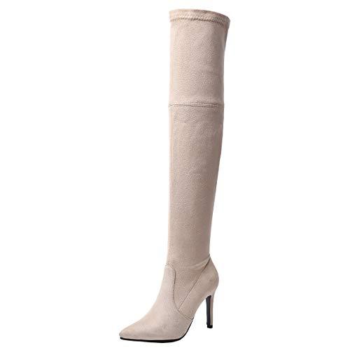 LUXMAX Stivali sopra al Ginocchio Donna Elasticizzati Tacchi Alti Spillo Tacco Alto a Punta Slip On Scarpe alla Coscia (Beige) - 36 EU