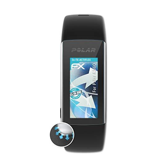 atFoliX Schutzfolie kompatibel mit Polar A360 Folie, ultraklare & Flexible FX Bildschirmschutzfolie (3X)